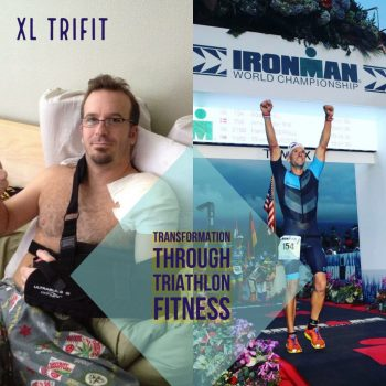 XL TriFit Creator Adam Hill before and after discovering triathlon fitness (on the road to the Ironman World Championship). Within the XL TriFit program, Adam shares the secrets of positive transformation and exceptional health and fitness. The same secrets that led him from a life of anxiety, depression, and unhealthy habits, to a life of joy and world class health and fitness. Many others have transformed their lives through triathlon fitness. Are you ready to become healthier, happier, and fitter than ever before?